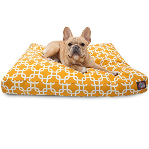 Yellow Links Small Rectangle Indoor Outdoor Pet Dog Bed With Removable Washable Cover By Majestic Pet Products