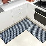 Color & Geometry Juego de Alfombrillas de Cocina Antideslizantes de 2 Piezas, alfombras de Barrera con Respaldo de Goma, Alfombra Absorbente y Lavable para Cocina (44x75cm + 44x150cm, Gris)