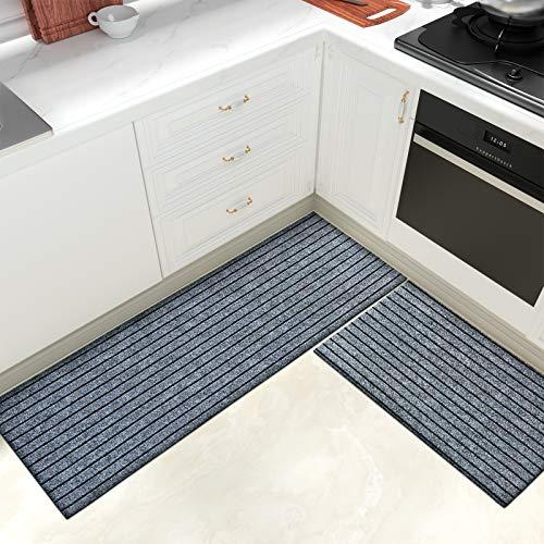 Color & Geometry Juego de Alfombrillas de Cocina Antideslizantes de 2 Piezas, alfombras de Barrera con Respaldo de Goma, Alfombra Absorbente y Lavable para Cocina (44x75cm + 44x150cm, Gris