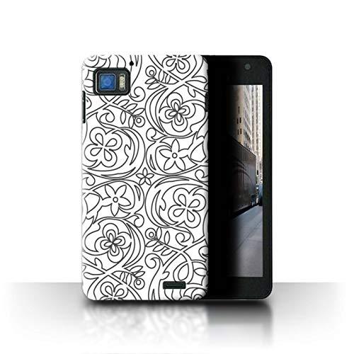 Phone Case for Lenovo K860 Black Fashion Flower Sketch Transparent Clear Ultra Slim Thin Hard Back Cover