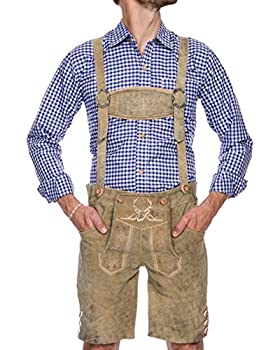Trend 2020 - White Oktoberfest Lederhosen Men - Real Leather - The Original Men s Lederhosen from Germany - Authentic German Octoberfest Outfit/Costume – Excellent Stitching & Details