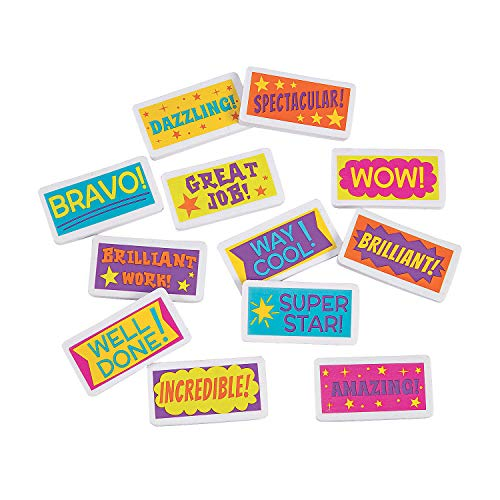 Fun Express Assorted Motivational Erasers | 24 Count | Kids Birthday Party, Themed Toys Supplies, Party Favors for Kids, Classroom Reward, School Supply, Small Gift