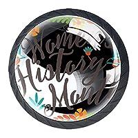 ドレッサーノブハードウェアラウンドノブ、取り付けネジ付きオフィスバスルームキッチンデコレーション用引き出しプル(4個)女性の歴史月1