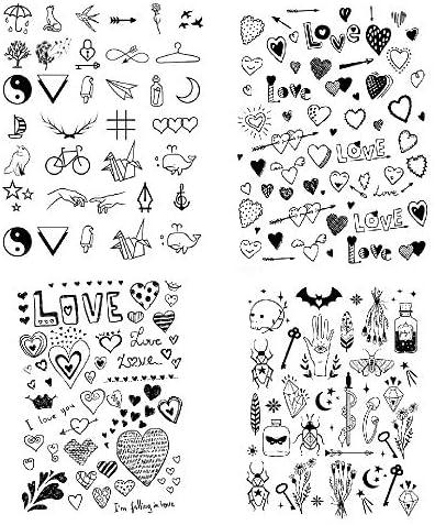 SanerLian Black Love Heart Temporary Tattoo Sticker Geometry Waterproof Women Girls Neck Chest product image