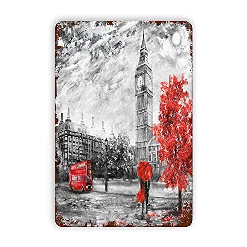 AOOEDM Carteles de metal Pintura al óleo sobre lienzo Street View of London Big, Cartel de chapa Pintura de hierro para pared Decoración de pared Arte Placas retro Póster Decoración colgante para inte