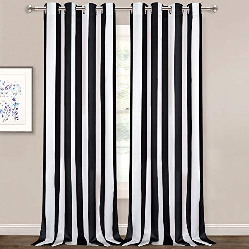 Striped Window Curtains, Black and White Vertical Stripe Curtain Panel, Window Drapes with Grommets for Bedroom Living Room Decor, Set of 2 Panels, 52 x 84 Inch Length