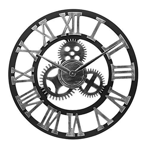 ufengke Silber Grosse Zahnrad Wanduhr Industriell Lautlos Holz Quarzuhr Deko mit Zahlen für Büro Wohnzimmer, Durchmesser 58cm