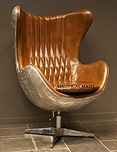 NauticalMart spitfire egg swivel chair armchair aluminum / leather brown - Club chair - Lounge chair - Vintage aircraft furniture