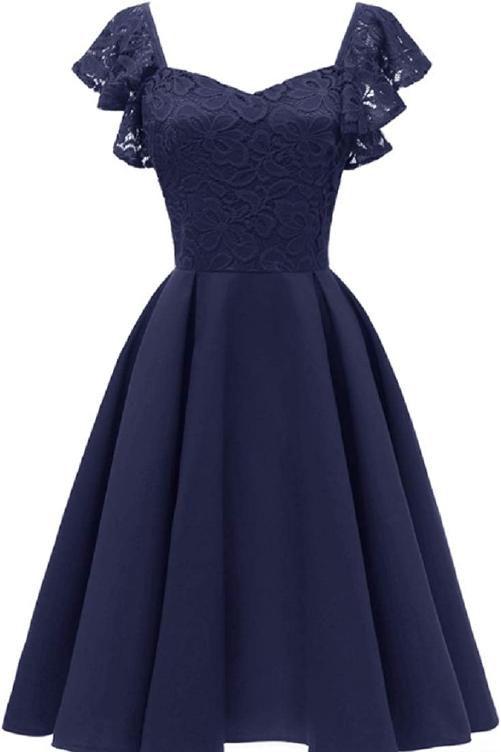 Women's Vintage Temperament Lace Butterfly Sleeve Cocktail Party Dress Bridesmaid Evening Dress