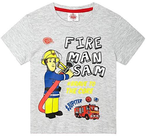 Feuerwehrmann Sam T-Shirt Jungen Rundhalsausschnitt (Grau, 104-110)