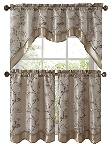 VCNY Home Audrey Complete 3 Pc. Embroidered Kitchen Curtain Tier & Swag Set - Assorted Colors (Beige/Gold)
