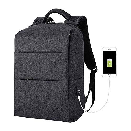 HEMFV トラベルノートパソコンのバックパック、USBでの充電とスクールバックパック、カジュアルファッションオックスフォード布ユニセックスバックパック (Color : Black)