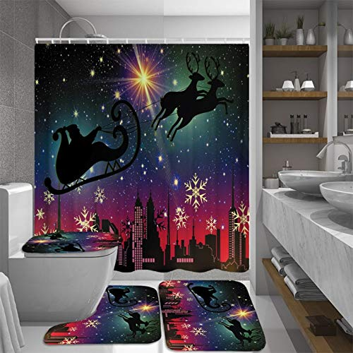 ZLWSSA Night Sky Santa Elk Bathroom Set Christmas Toilet Cover Waterproof Shower Curtain Bath Mat Rug Sets Home Decor W180xH180cm