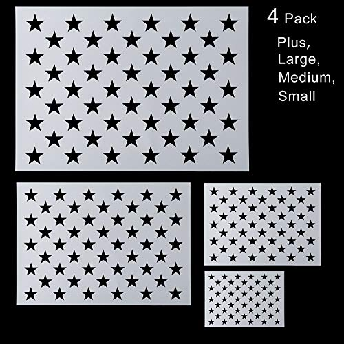 4 Pack American Flag 50 Star Stencil for Painting on Wood, Paper, Fabric, Glass, and Wall Art(Plus, Large, Medium, Small)