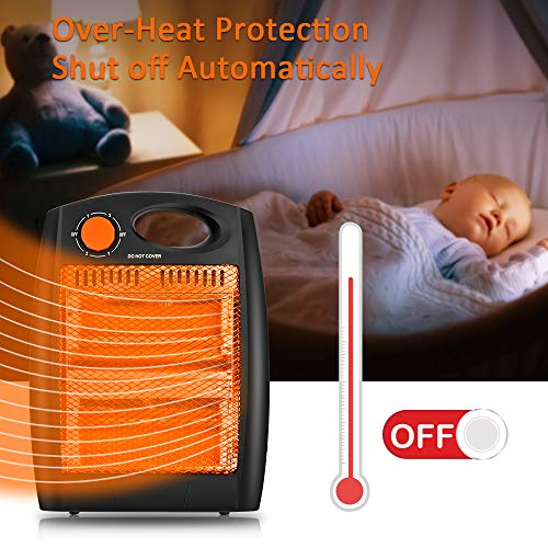 Portable Radiant Heater – Infrared Radiant Heater Quartz Infrared Heater with 2 Heat Settings, Quiet and Light Radiant Space Heater without Fan, Warm up Immediately, Overheat & Tip-Over Protection
