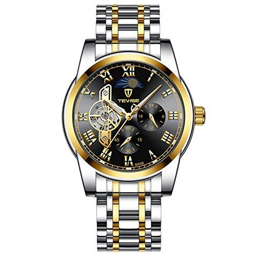 QZPM Hombres Mecánico Relojes Acero Inoxidable Bracelet Roman Number Multifunción Impermeable Luminosa Analógico Business Relojes,Negro