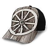 FULIYA Gorra de béisbol para papá de tamaño ajustable para correr entrenamientos y actividades al aire libre, rueda retro en la pared de madera, granero, casa de pueblo, carrito de carrito