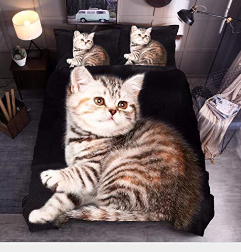 Biancheria da letto letto singolo 135 x 200cm,Gattino marrone set copripiumino,microfibra stampato 3D ipoallergenica 1 copripiumino con chiusura lampo + 2 federe 50 x 75 cm