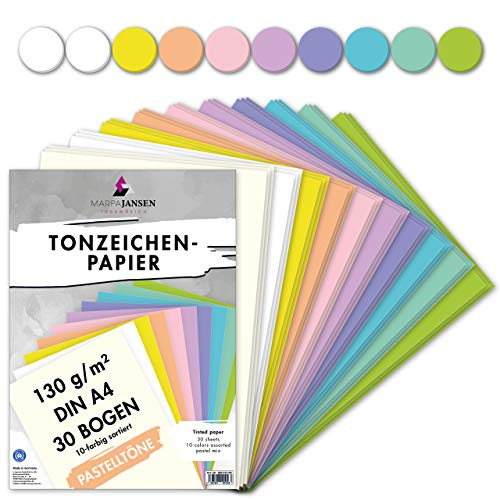 MarpaJansen Tonzeichenpapier Pastelltöne Mix, 10 Farben, DIN A4, 30 Bogen, 130 g/qm