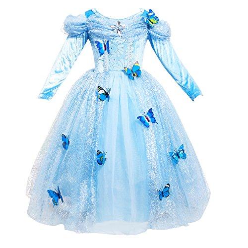 Lee Little Angel Festival Ragazza Cenerentola Manica Lunga Princess Cosplay Fantasia Abito Farfalla (4 Anni, Blu)