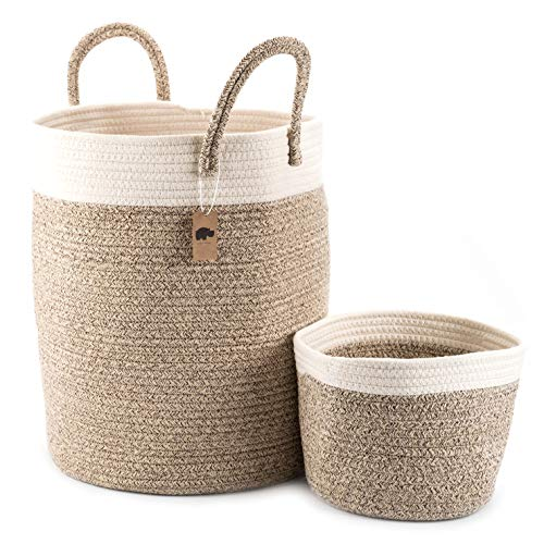 Little Hippo 2pc Large Cotton Rope Basket, White (16'x15') 100% Natural Cotton! Laundry Basket, Woven Storage Basket, Blanket Basket Living Room, Toy Storage Basket, Pillow Basket, Round Basket