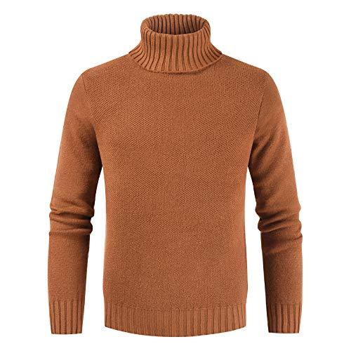 Suéter de cuello alto de los hombres del otoño suéter básico suéter de punto delgado