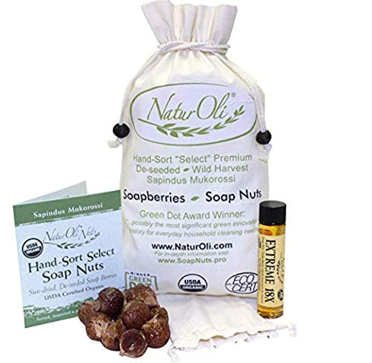 の中で疑問に思うプライバシーNaturOli, Organic, Hand-Sort Select Soap Nuts With 2 Muslin Drawstring Bags, 16 oz