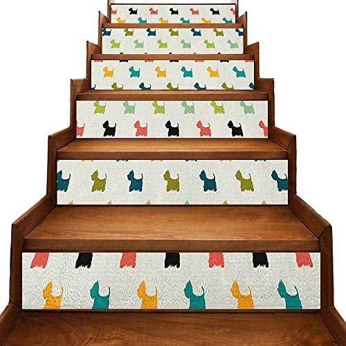 JiuYIBB - Decoración tradicional impermeable para el hogar, coloridas siluetas de Terrier escocés, telón de fondo de lunares, diseño de animales de raza pura, pegatina removible, multicolor