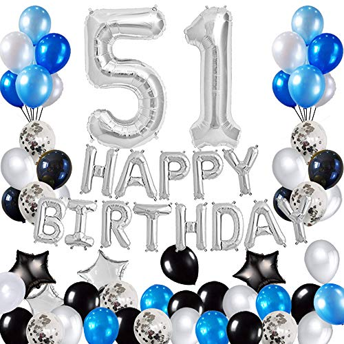 Risehy 51st Birthday Decorations Birthday Party Supplies Set- Foil Happy Birthday Banner Foil Balloons Number 51 and Star Shape Balloons 47 pcs Latex Balloons Silvery and Blue