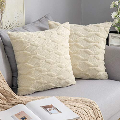MIULEE Pack of Two Cushion Cover Wool Throw Pillow Case Decorative Elegant With Plush Home for Sofa Bedroom Living Room Protector 45 x 45cm 18 x 18 Inch Beige