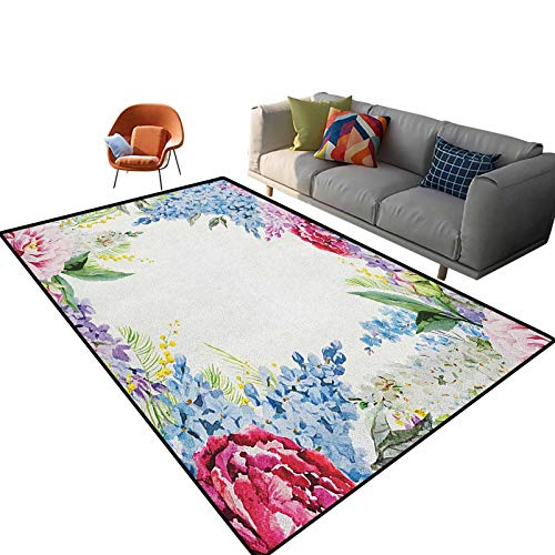Flower Kids Print Carpet Springtime Fragrance Garland with Bunch of Flowers Lilac Lavender Rose Peony Artsy Print Doormat for Kitchen Floor Laundry Living Room Bedroom 4'x 5.3'
