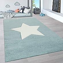 Paco Home Alfombra Infantil, Alfombra Pastel Habitación Infantil con Nubes 3D Y Motivos De Estrellas Arcoíris, tamaño:80x150 cm, Color:Azul 2
