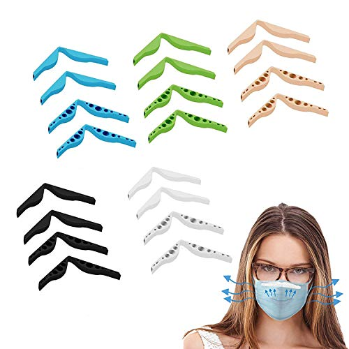 Anti Fog Nose Bridge Strip, Silicone Mask Support Inner Nose Bracket Clip, Reusable Nose Bridge Pad for Create More Space, Prevent Eye Glasses from Fogging, 20 Pieces