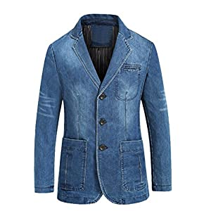 Men's Denim Sport Coat Distressed Work Blazer Three-Buttons Jeans Out...