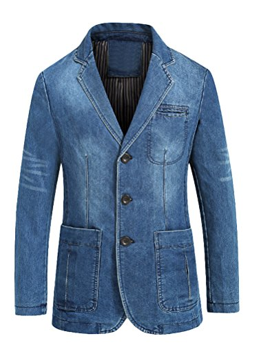 Mordenmiss Men's Denim Sport Coat Distressed Work Blazer Three-Buttons Jeans Outwear M Light Blue