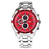 Curren Newest Stylish Red Dial Water Resistant Chronometer Quartz Watch Wristwatch Silver Band