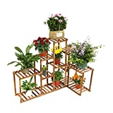 Corner Wooden Plant Stand Holder Assorted Display Shelf Rack with 10 Tiered Shelves for Flowers Planters Garden Patio Balcony Living Room