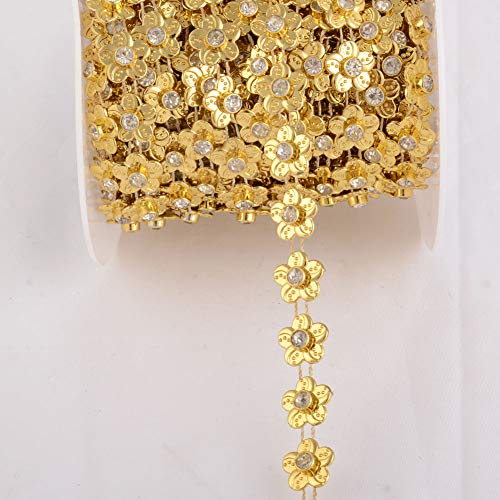 Eoohan Rhinestone Chain Trims Sewing Flower Shape Flatback Wedding Decoration Craft Beaded Gold Color 5 Yards 12mm 1/2'Width with 5mm 3/16'Rhinestone