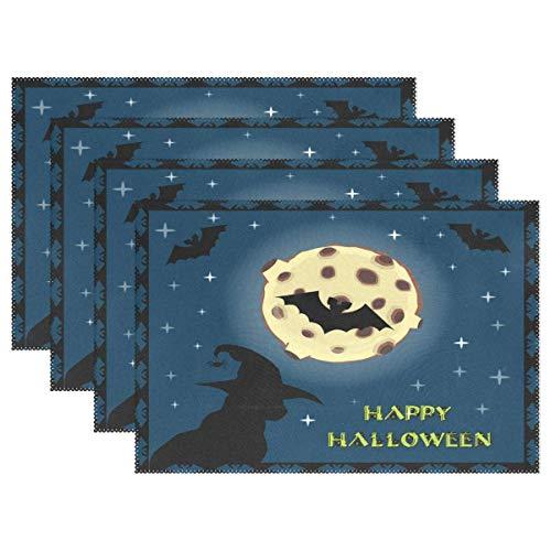 ZDMAHCC Halloween Zwarte Kat in Heks Hoed op volle maan Placemats Eettafel Hittebestendige Keuken Tafel Decor Wasbare Tafelmatten Set van 6