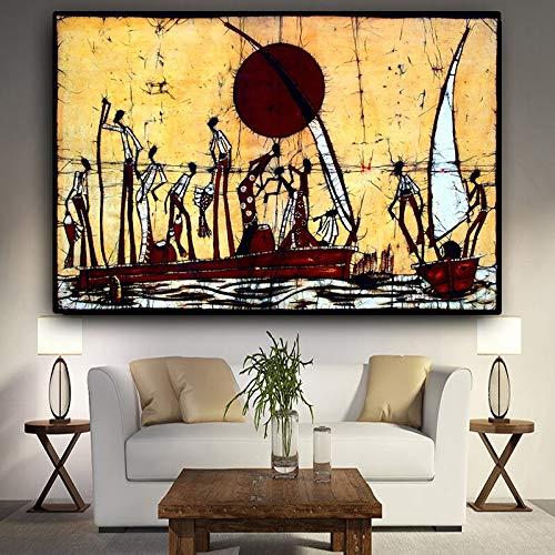 Canvas volwassen kinderen kinderen olieverfschilderijAbstract Afrikaanse Figuur Zeilboot LscapeVerjaardag bruiloft nieuwe accommodatie decoraties geschenken