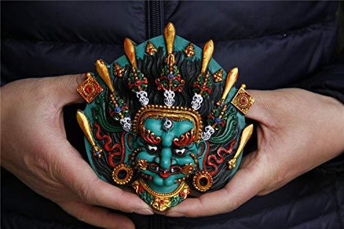 CgngMz Tibet Buddhismus Türkis vergoldet Schwert Schädel Mahakala Maske Statue