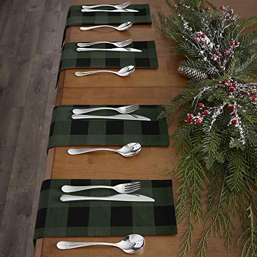 Elrene Home Fashions Farmhouse Living Holiday Buffalo Check Set of 4 Napkins, 20' x 20', Green/Black