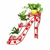 XCYOU Blumenständer, Persönlichkeit Kreative High Heels Schmiedeeisen Blumenregal Mehrschichtige Blumentopfhalterung for Innen Wohnzimmer Topfhalterung Balkon Blumenregal Bodenstehend