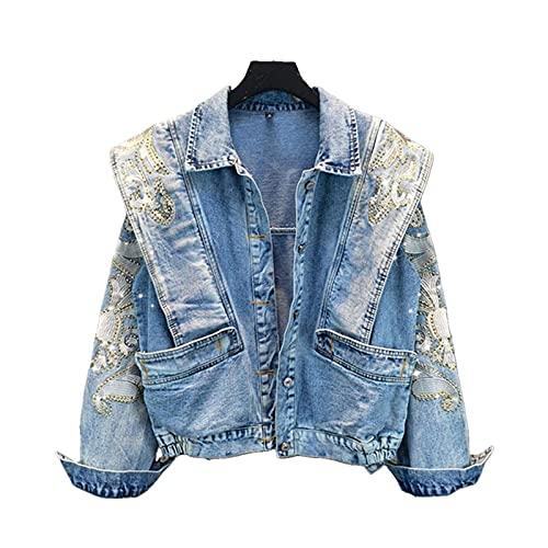 UKKO Giacca di Jeans Giacca Jeans da Jeans da Donna con Strass Ricamo-One Size,Blue