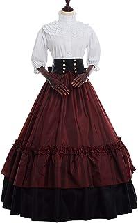 GRACEART Vestido de Traje Medieval Vestido renacentista para Mujer Vestido Largo de Noche de Estilo Victoriano gotico (S, ...