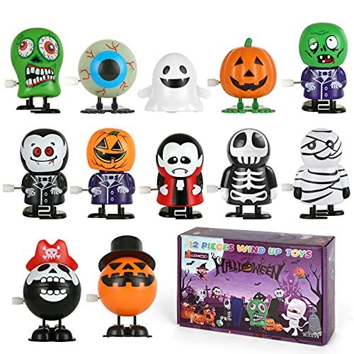 LEMESO 12 Stück Halloween Uhrwerk Spielzeug Aufziehspielzeug Wind up Spielzeug Set Geschenk für Kinder Mädchen und Jungen