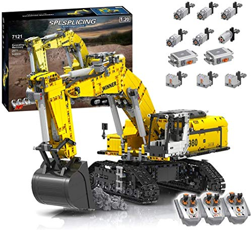 DioMate 2071/pcs Engineering Series 2.4g Remote Control Multifunctional Technology Car Crawler Excavator, Loader Building Block Model Kit with 6 Motors, Compatible with Lego Technic