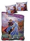 AYMAX S.P.R.L. Juego de ropa de cama infantil de Frozen, funda nórdica de 140 x 200 cm y funda de almohada de 63 x 63 cm