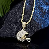 BAIYAN Collier Hiphop, Crystal Rugby Casque Pendentif Collier Hommes Sports Football Football Glace Chaîne Amitié Pendentifs Or Color Collier Hip Hop