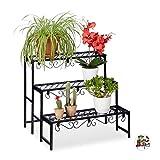 Relaxdays Blumentreppe aus Metall, rechteckiges Blumenregal mit 3 Ebenen, für den Garten, Balkon oder Terrasse, schwarz